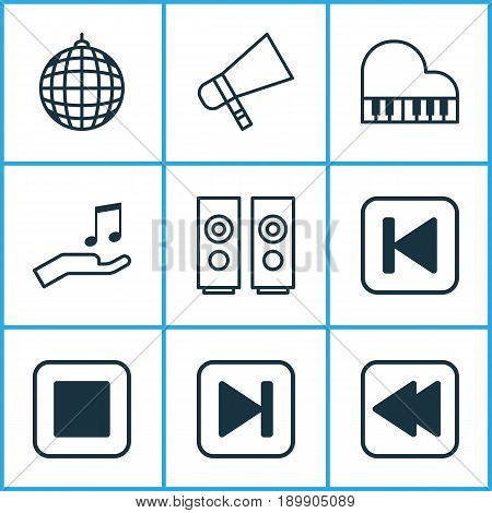 Music Icons Set. Collection Of Dance Club, Note Donate, Bullhorn And Other Elements. Also Includes Symbols Such As Media, Back, Forward.