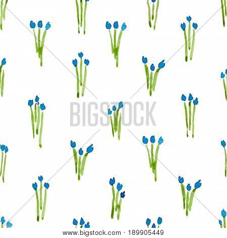 Calico Watercolor Pattern. Admirable Seamless Cute Small Flowers For Fabric Design. Calico Pattern I