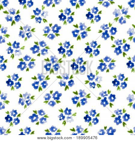 Calico Watercolor Pattern. Magnificent Seamless Cute Small Flowers For Fabric Design. Calico Pattern