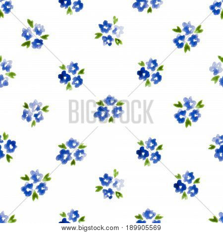 Calico Watercolor Pattern. Graceful Seamless Cute Small Flowers For Fabric Design. Calico Pattern In