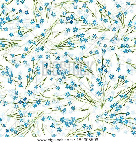 Calico Watercolor Pattern. Cute Seamless Cute Small Flowers For Fabric Design. Calico Pattern In Cou