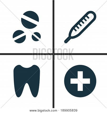 Medicine Icons Set. Collection Of Claw, Mercury, Cure And Other Elements. Also Includes Symbols Such As Claw, Thermometer, Instrument.