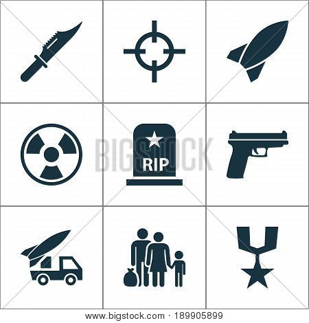 Battle Icons Set. Collection Of Fugitive, Dangerous, Weapons And Other Elements. Also Includes Symbols Such As Refugee, Bio, Medal.