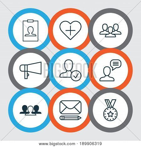 Network Icons Set. Collection Of Edit Mail, Confirm Profile, Talking Person And Other Elements. Also Includes Symbols Such As Pen, Award, Human.