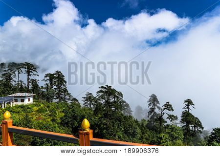 Scenery from the Druk Wangyal Khangzang Stupa with 108 chortens Dochula Pass Bhutan. Dochula pass is located on the way to Punakha from Thimphu.