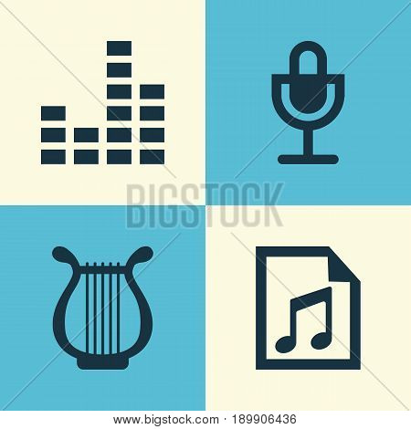 Music Icons Set. Collection Of File, Equalizer, Lyre And Other Elements. Also Includes Symbols Such As Lyre, Mic, Instrument.
