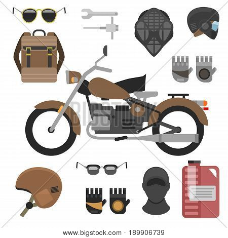 Two motorcyclist with accessories set. helmets, backpack and motor oil. tools, sunglasses, mask and gloves
