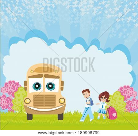 School bus and happy children , vector illustration
