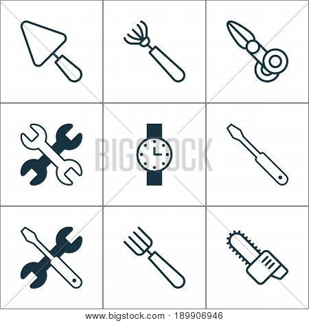 Tools Icons Set. Collection Of Harrow, Clippers, Spanner And Other Elements. Also Includes Symbols Such As Cutting, Scissors, Putty.