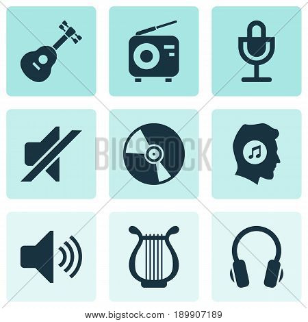 Multimedia Icons Set. Collection Of Lyre, Meloman, Mike And Other Elements. Also Includes Symbols Such As Mic, Turntable, Earmuff.