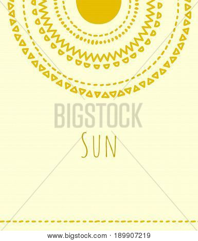 Golden sun in the sky doodle circles vector illustration background