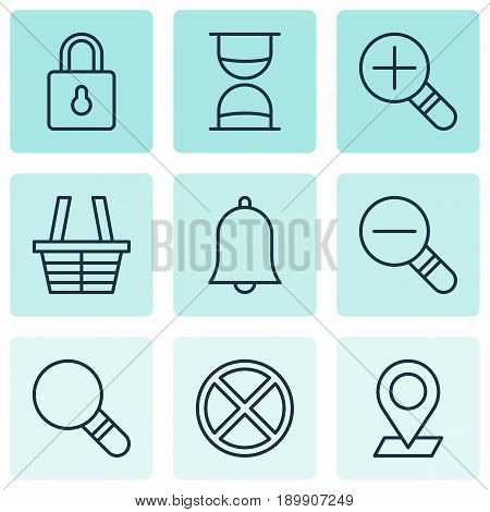 Network Icons Set. Collection Of Pinpoint, Increase Loup, Hourglass And Other Elements. Also Includes Symbols Such As Plus, Exit, Siren.