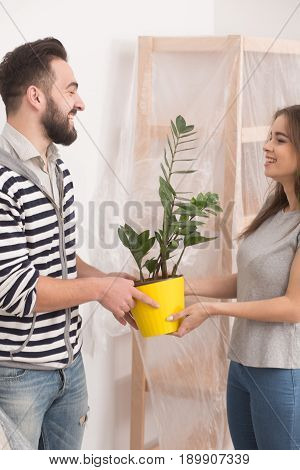Loving young man and woman holding plant after relocation. Smiling couple holding yellow flower pot with new furniture covered with foil behind them.