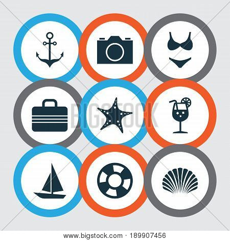 Season Icons Set. Collection Of Conch, Sea Star, Lifesaver And Other Elements. Also Includes Symbols Such As Photo, Lifesaver, Suitcase.