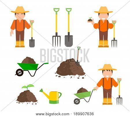 Set of farmer and gardener with shovel and pitchfork. Wheelbarrow with organic fertilizer, pile of ground or compost. Gardening tools. Vector illustration flat design