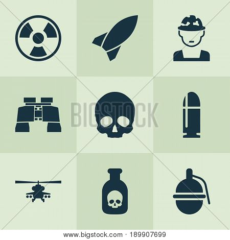 Warfare Icons Set. Collection Of Danger, Glass, Dangerous And Other Elements. Also Includes Symbols Such As Slug, Hazard, Chopper.