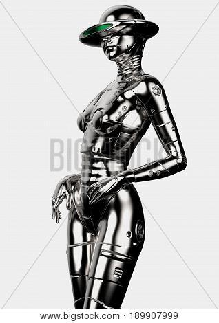 3D illustration. The stylish cyborg the woman. Futuristic fashion android.