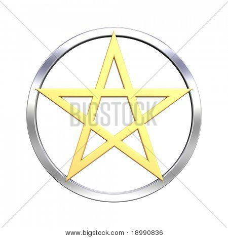 Pentagram isolated on white. Computer generated 3D photo rendering.