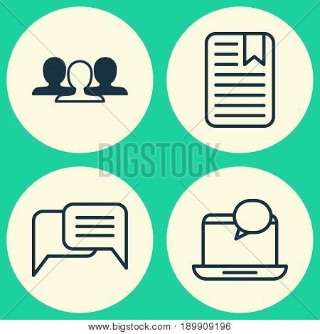 Network Icons Set. Collection Of Group, Note Page, Mail Notification And Other Elements. Also Includes Symbols Such As Mail, Unity, Chatting.