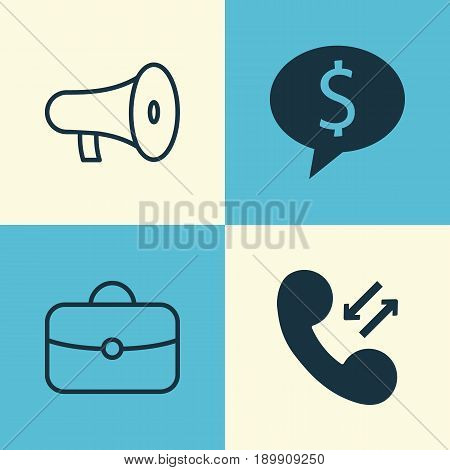 Resources Icons Set. Collection Of Business Deal, Cellular Data, Briefcase And Other Elements. Also Includes Symbols Such As Discussion, Briefcase, Handbag.