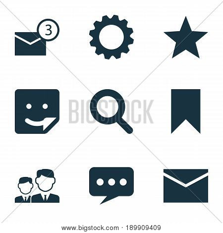 Internet Icons Set. Collection Of Magnifier, Flag, Message And Other Elements. Also Includes Symbols Such As Smile, Inbox, Mates.