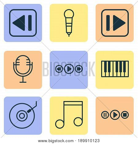 Music Icons Set. Collection Of Mike, Piano, Music Control And Other Elements. Also Includes Symbols Such As Next, Back, Piano.