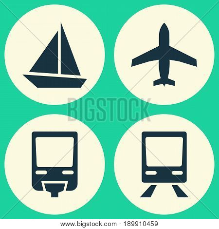 Shipment Icons Set. Collection Of Aircraft, Railway, Yacht And Other Elements. Also Includes Symbols Such As Monorail, Yacht, Airplane.