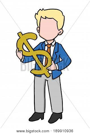 Carton illustration of businessman carry dollar sign