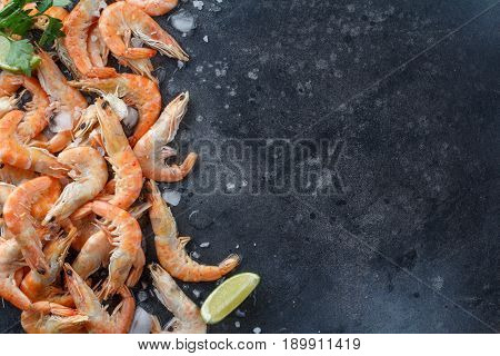 Shrimps With Lime, Ice, Herbs And Sea Salt On A Black Background. Frame For Your Text. Shrimp With H