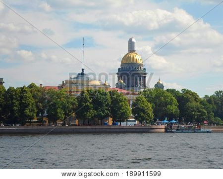 View of the Neva River and the Saint Isaac's Cathedral in Saint Petersburg, Russia - July 2016