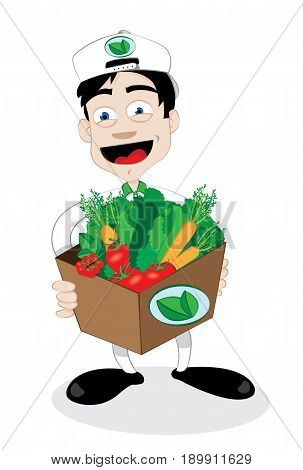 a vector cartoon representing a friendly and smiling courier, running and delivering an open carton full of fresh healthy vegetables - online order and fast shipping concept
