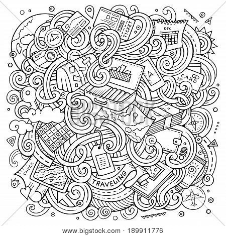 Cartoon cute doodles hand drawn traveling illustration. Line art detailed, with lots of objects background. Funny vector artwork. Sketchy picture with travel planning theme items