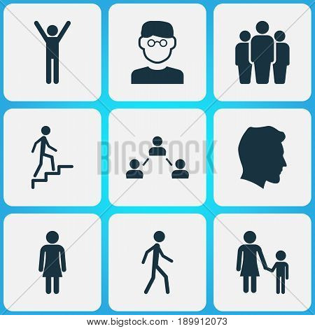 Human Icons Set. Collection Of Ladder, Scientist, Network And Other Elements. Also Includes Symbols Such As Walking, Team, Jogging.