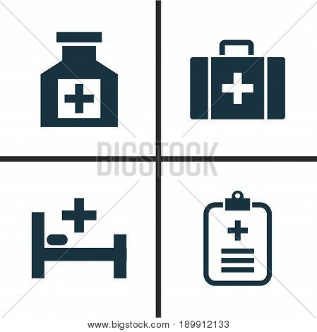 Antibiotic Icons Set. Collection Of Chest, Tent, Analyzes And Other Elements. Also Includes Symbols Such As Analyzes, Heartbeat, Tent.