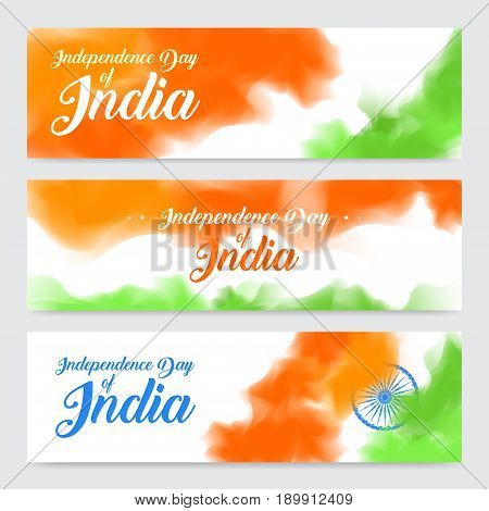 illustration of set of banner and header for colorful India. Indian Independence Day concept background with Ashoka wheel. Vector Illustration