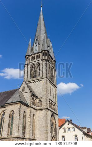 Tower Of The Martin Luther Church In The Center Of Detmold