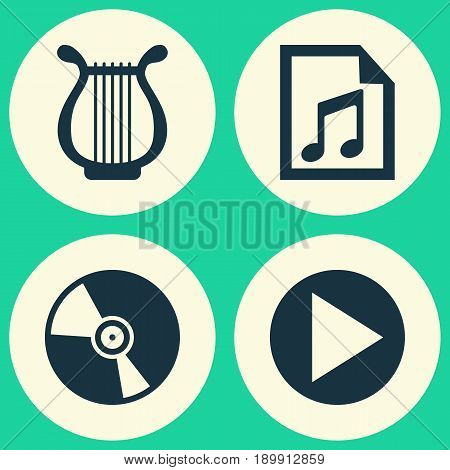 Audio Icons Set. Collection Of File, Cd, Start And Other Elements. Also Includes Symbols Such As Button, Play, Start.