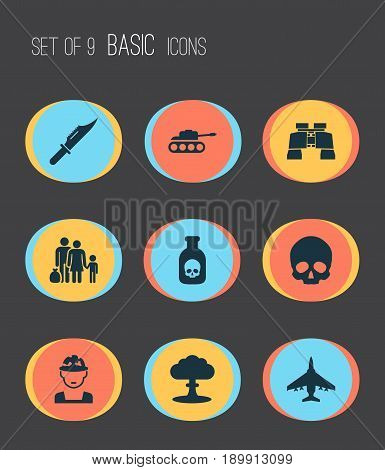 Combat Icons Set. Collection Of Panzer, Aircraft, Fugitive And Other Elements. Also Includes Symbols Such As Scalper, Aircraft, Zoom.
