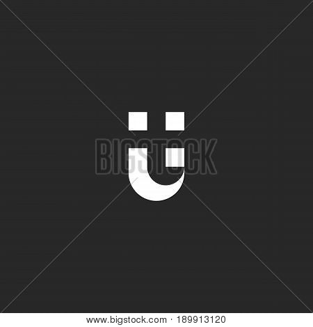 Letters Ut Logo Negative Space Style. Combination Black And White Symbol U And T. Typography Design
