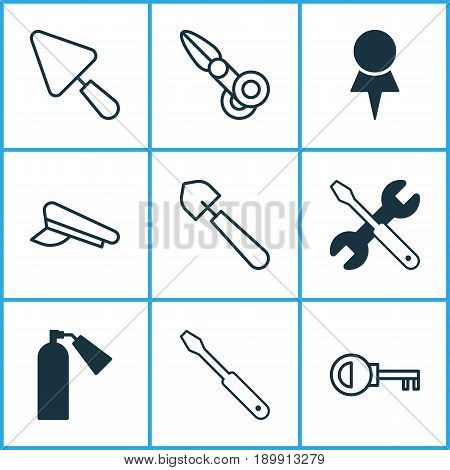Tools Icons Set. Collection Of Cop Cap, Clippers, Turn Screw And Other Elements. Also Includes Symbols Such As Shovel, Wrench, Cop.