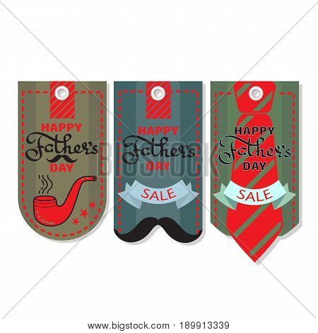 Happy Fathers day. Vector set of Sale coupon, voucher, tag. Collection of cardboard sales labels. Can be used as price tags.