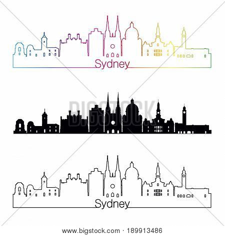 Sydney V3 Skyline Linear Style With Rainbow