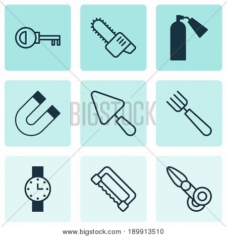 Instrument Icons Set. Collection Of Putty, Gasoline Cutter, Attraction And Other Elements. Also Includes Symbols Such As Scapula, Clippers, Key.