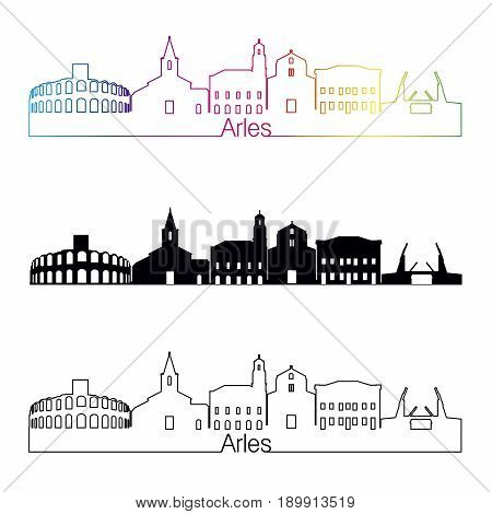 Arles Skyline Linear Style With Rainbow