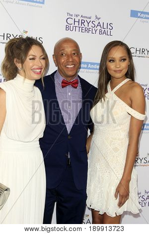 LOS ANGELES - JUN 3:  Rebecca Gayheart, Russell Simmons, Guest at the 16th Annual Chrysalis Butterfly Ball at the Private Estate on June 3, 2017 in Los Angeles, CA