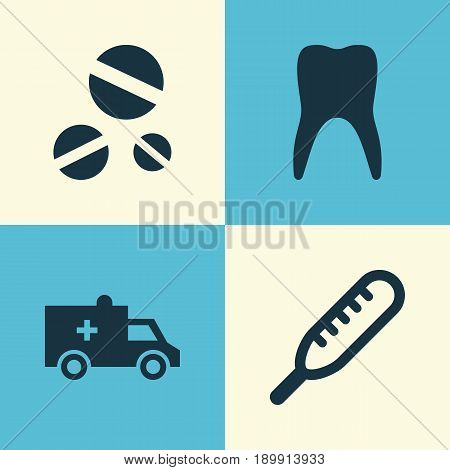 Medicine Icons Set. Collection Of Dental, Ache, Bus And Other Elements. Also Includes Symbols Such As Medicine, Cure, Temperature.