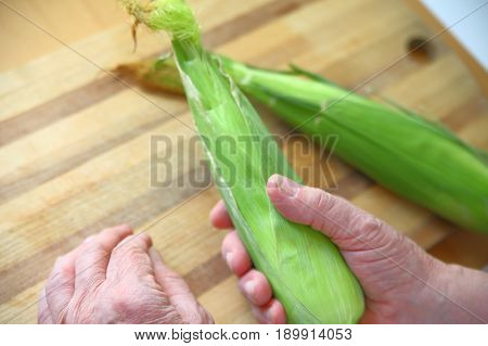 An older man holds an ear of corn with its husk intact with copy space