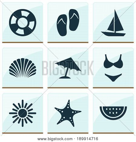 Icons Set. Collection Of Lifesaver, Ship, Conch And Other Elements. Also Includes Symbols Such As Sea, Suit, Star.