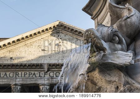 Fountain front of pantheon at piazza della rotonda in rome Italy