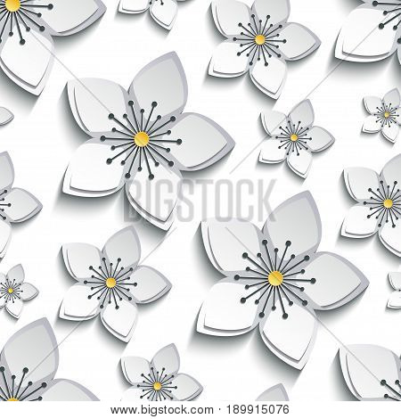 Trendy background seamless pattern with decorative white grey 3d sakura blossom japanese cherry tree cutting paper. Floral stylish modern wallpaper with flowers. Vector illustration
